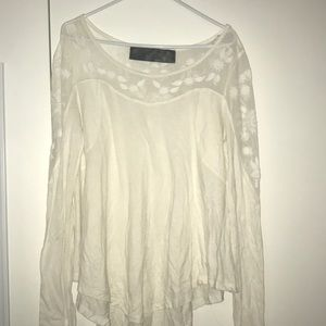 Free People White Lace Long Sleeve